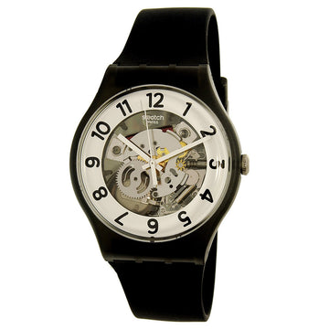 Swatch SUOB134 Men's Archi-Mix Skeletor Black Silicone Strap White & Silver Semi-Skeleton Dial Watch