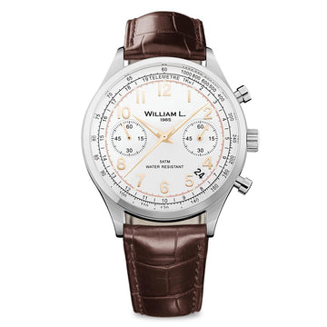 William L. 1985 WLAC01BCORCM Men's Chronographs White Dial Brown Croco Watch
