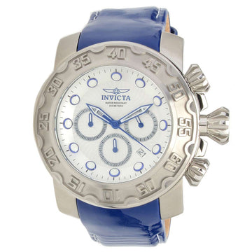 Invicta 22391 Men's Lupah Silver Dial Blue Leather Strap Chronograph Dive Watch