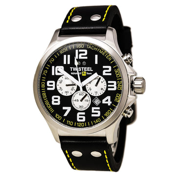TW Steel TW672 Men's Pilot Renault F1 Team Black Leather Strap Chronograph Black Dial Date Watch