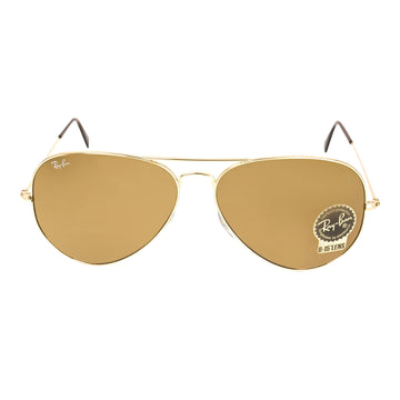 Ray-Ban RB 3025 001-33 62 Aviator Classic Gold Metal Frame Brown Classic B-15 Lenses Men's Sunglasses