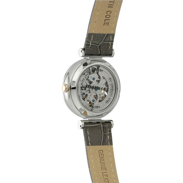 Kenneth Cole 10027309 Women's Grey Leather Band Automatic Transparency Skeleton Silver Dial Watch