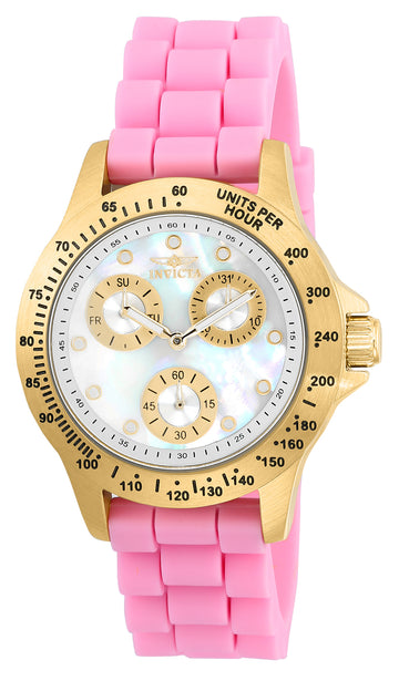 Invicta 21982 Women's Speedway MOP Dial Yellow Gold Steel Pink Silicone Strap Watch