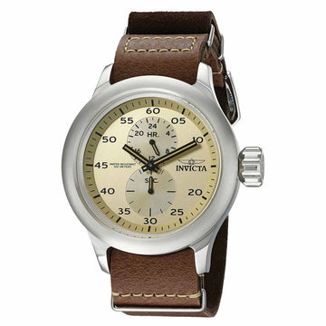 Invicta Men's Russian Diver Leather Strap Watch - Quartz Beige Dial | 19498