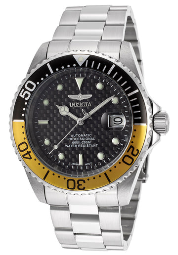 Invicta 15587 Men's Pro Diver Black & Yellow Bezel Black Dial Automatic Dive Watch
