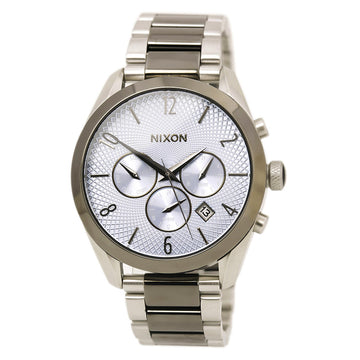 Nixon A3662363 Men's Bullet Two Tone Gunmetal IP Steel Quartz Blue Dial Day Date Watch