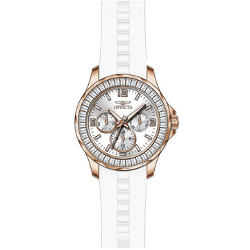 Invicta 22471 Women's Angel Crystal Accented Bezel Silver Dial White Silicone Strap Quartz Watch