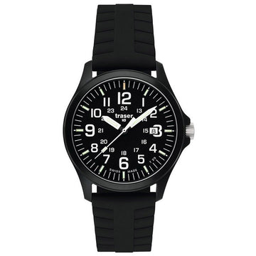 Traser 100229 Men's Professional Type 3 P6704 Officer Pro Black Dial Black Rubber Strap Watch