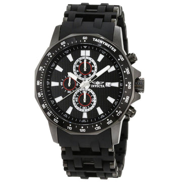 Invicta 1933 Men's Steel & Polyurethane Bracelet Sea Spider Chrono Black Dial Date Watch