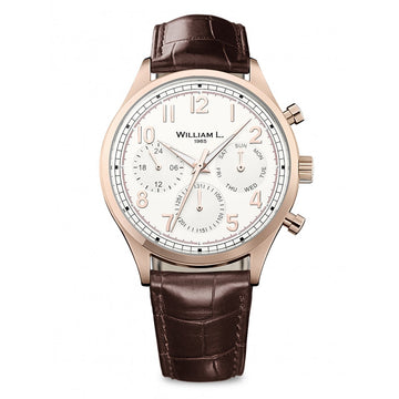 William L. 1985 WLOR03BCORCM Men's Calendar Vintage Style Cream Dial Brown Leather Strap Watch