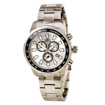 Invicta 1554 Men's Stainless Steel Bracelet Swiss Quartz Specialty Chrono Silver Dial Date Watch