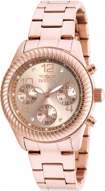 Invicta 20267 Women's Angel Rose Gold Steel Bracelet Chrono Watch