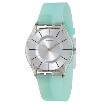 Swatch SFK397 Women's Summer Breeze Silver Dial Blue Silicone Strap Watch