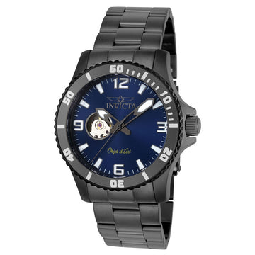 Invicta 22626 Men's Objet D Art Semi-Skeleton Blue Dial Gunmetal IP Steel Bracelet Automatic Watch
