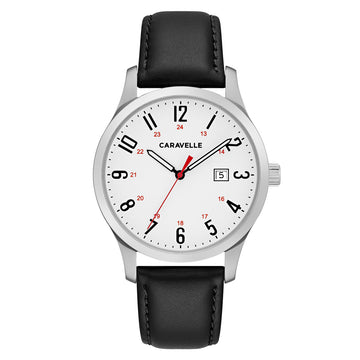 Caravelle 43B152 Men's Quartz White Dial Black Leather Strap Watch