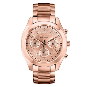 Caravelle 44L115 Womens New York Rose Gold Dial Chronograph Rose Gold Watch