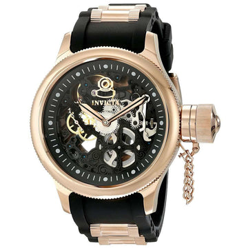 Invicta 17267 Men's Steel & Polyurethane Strap Mechanical Russian Diver Black Skeleton Dial Watch