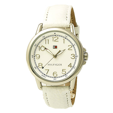 Tommy Hilfiger 1781652 Women's Casey White Dial White Leather Strap Watch