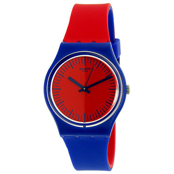 Swatch GS148 Unisex Archi-Mix Blue Loop Red Dial Red & Blue Silicone Strap Swiss Quartz Watch
