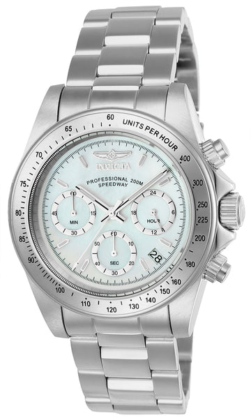 Invicta Men's Chronograph Watch - Speedway White MOP Dial Steel Bracelet Dive | 24768