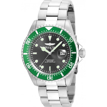 Invicta Men's Stainless Steel Watch - Pro Diver Dive Green Accented Bezel Grey Dial | 22021