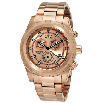 Invicta 1562 Men's II Collection Rose Gold Plated Stainless Steel Rose Gold Dial Chronograph Watch