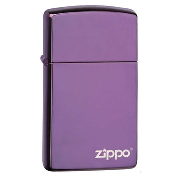 Zippo Windproof Pocket Lighter - Slim Zippo Logo High Polish Purple | 28124ZL