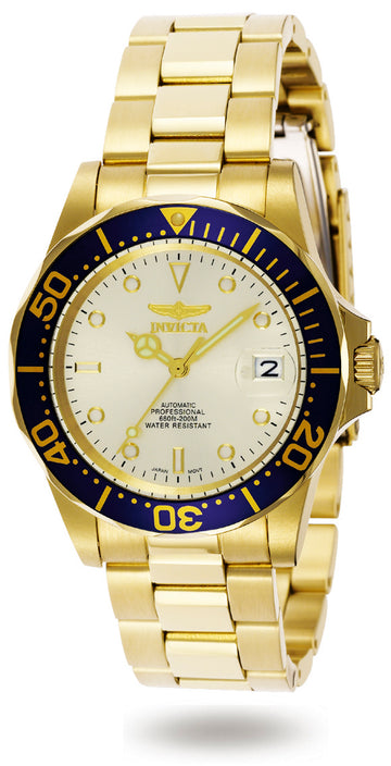 Invicta Men's Automatic Yellow Gold Steel Watch - Pro Diver Champagne Dial | 9743