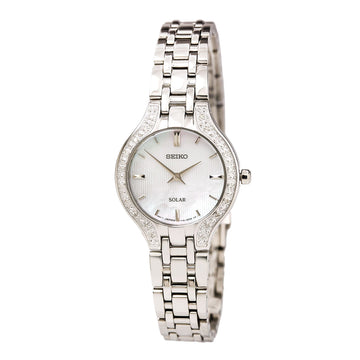 Seiko SUP333 Women's Core Solar Steel Bracelet White MOP Dial Quartz Diamond Watch
