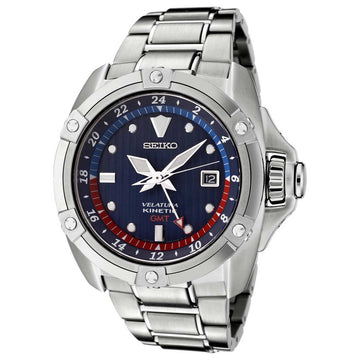Seiko SUN011 Men's Velatura Blue Dial Steel Bracelet Kinetic GMT Watch