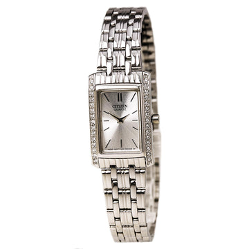 Citizen Women's Steel Watch - Quartz Swarovski Crystal Accent Bezel Silver Dial