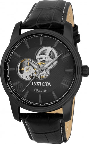 Invicta 22619 Men's Black Semi-Skeleton Dial Automatic Objet D Art Black Leather Strap Watch