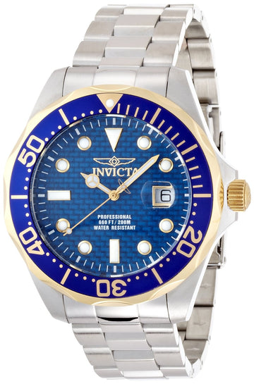 Invicta 12566 Men's Grand Diver Blue Carbon Fiber Dial Stainless Steel Bracelet Dive Watch