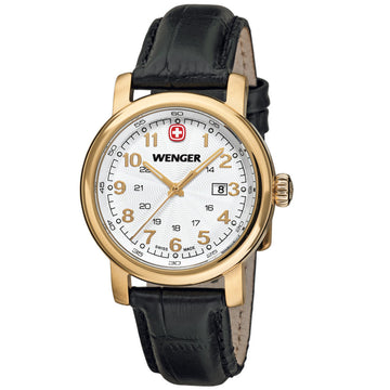 Wenger 01.1021.109 Women's Urban Classic White Dial Gold Plated Steel Black Leather Strap Watch