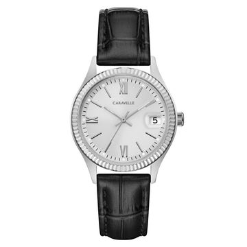 Caravelle 43M116 Women's Silver Dial Black Croc-Embossed Leather Strap Watch