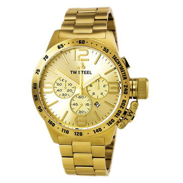 TW Steel CB104 Men's Canteen Bracelet Chronograph Gold Tone Dial Yellow