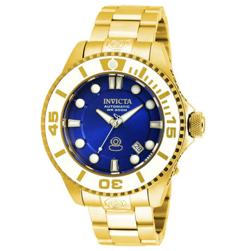 Invicta 20177 Men's Grand Diver Blue Dial Yellow Gold Steel Bracelet Automatic Dive Watch