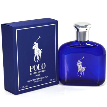 Ralph Lauren Men's Polo Blue Eau de Toilette Natural Spray, 4.2 oz (125 ml)