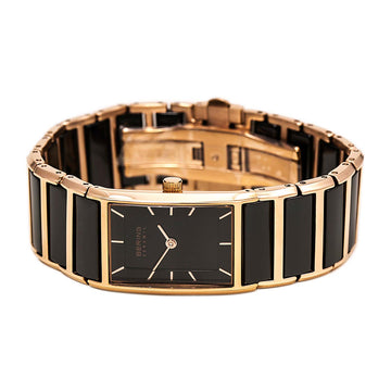 Bering 30121-746 Women's Ceramic Rose Gold Steel & Black Ceramic Bracelet Watch