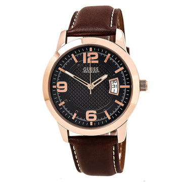 Guess U0494G2 Men's Honey Brown Band Quartz Contemporary Blue Dial Date Watch