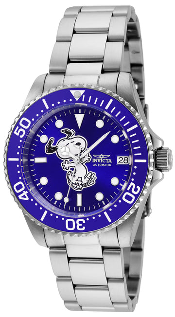 Invicta 24791 Women's Snoopy Character Automatic Blue Dial Steel Bracelet Dive Watch