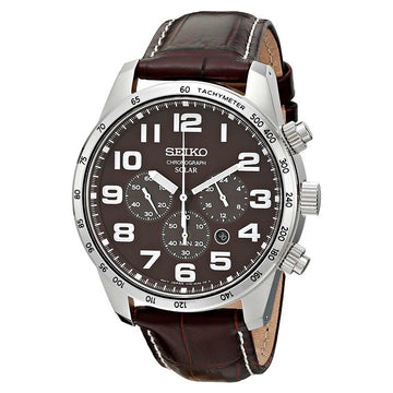 Seiko SSC227 Men's Core Solar Brown Dial Brown Leather Strap Chronograph Power Reserve Watch