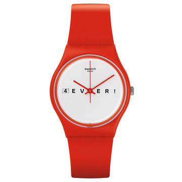 Swatch GR404 Women's Voice of Freedom 4Everfever White Dial Red Silicone Strap