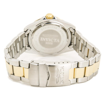 Invicta 9309 Men's Two Tone Yellow Steel Bracelet Swiss Quartz Pro Diver Black Dial Date Watch