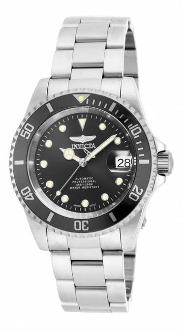 Invicta 17044 Herren Stahlarmband Automatic Pro Diver Black Dial Date Watch