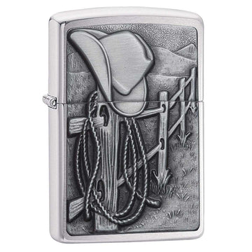 Zippo Windproof Pocket Lighter - Resting Cowboy Brushed Chrome | 24879