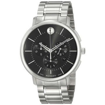 Movado 0606886 Men's Thin Classic Black Dial Chrono Steel Watch