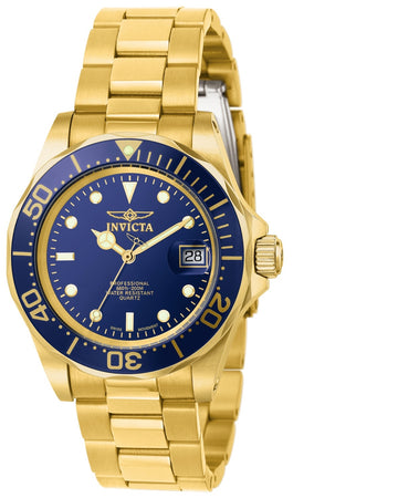 Invicta Men's Yellow Gold Steel Watch - Pro Diver Blue Dial Swiss Quartz | 9312