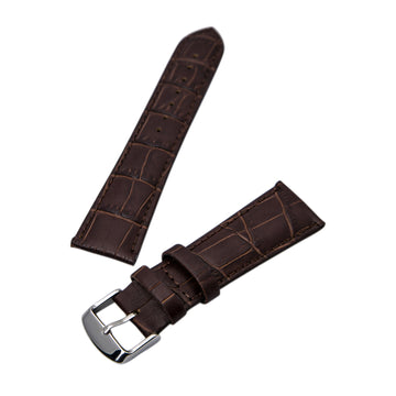 Hadley Roma Brown 24 mm Wide Alligator Grain Leather Strap