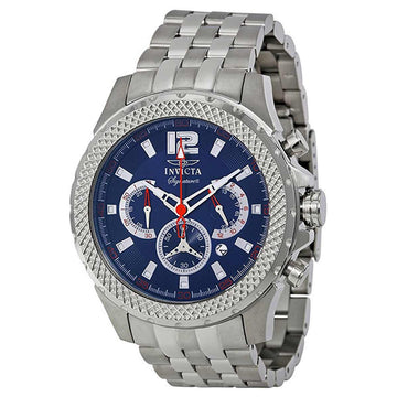 Invicta Men's Chronograph Watch - Signature II Blue Dial Steel Bracelet | 7458